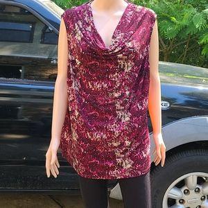 JONES STUDIO marron cowlneck abstract blouse